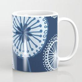 Folksy Floral in Navy Blue Coffee Mug