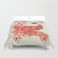 rose gold Duvet Covers featuring Peacock – Rose & Gold by Cat Coquillette
