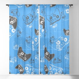 Video Game in Blue Sheer Curtain