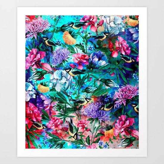 RPE Seamless Floral & Birds IV Art Print