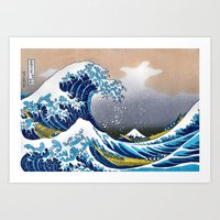 The Great Wave off Kanagawa Embossed by LarcenIII Art Print