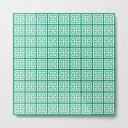 Leaf Green Greek Key Pattern Metal Print