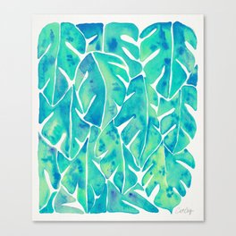 Split Leaf Philodendron – Turquoise Canvas Print