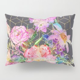 Modern watercolor floral and gold geometric cubes Pillow Sham