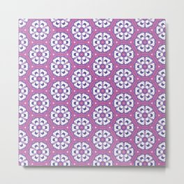 Purple geometric floral pattern Metal Print
