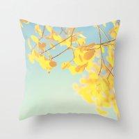 golden Throw Pillows featuring golden by Life Through the Lens