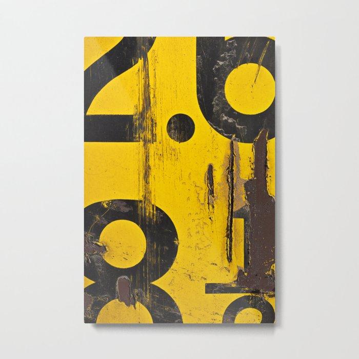 black numbers on yellow background Metal Print