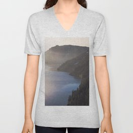 First Light at the Lake - Nature Photography Unisex V-Neck