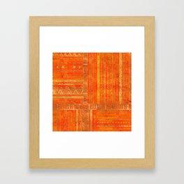 Tribal Ethnic pattern gold on bright orange Framed Art Print