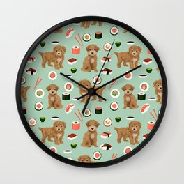 Bichpoo sushi dog breed cute pet portrait pet friendly pattern dog lover gifts Wall Clock