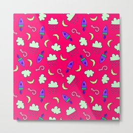 Doddles spacecrafts clouds and moon in pink space pattern Metal Print