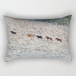 wild horses walking to water Rectangular Pillow