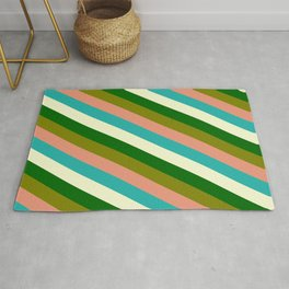 Eye-catching Green, Dark Salmon, Light Sea Green, Light Yellow, and Dark Green Colored Stripes Rug