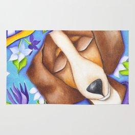 Happy Dreams Dachshund Dog Original Art Rug