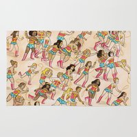 women Area & Throw Rugs featuring Wonder Women! by Lucy Knisley