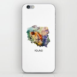 Map of Poland watercolor iPhone Skin