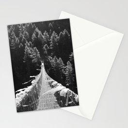 Man walking on the Tibetan bridge Stationery Cards