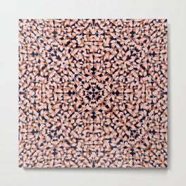 Leafy, Floral Prints, Navy Blue, Orange, Pink, Boho Wall Art Metal Print