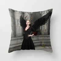 evil queen Throw Pillows featuring Evil Queen by Design Windmill