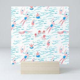 swimmers in the sea pattern Mini Art Print