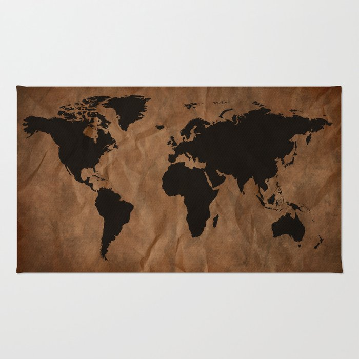 Old Wrinkled World Map Rug By Nicklasgustafsson