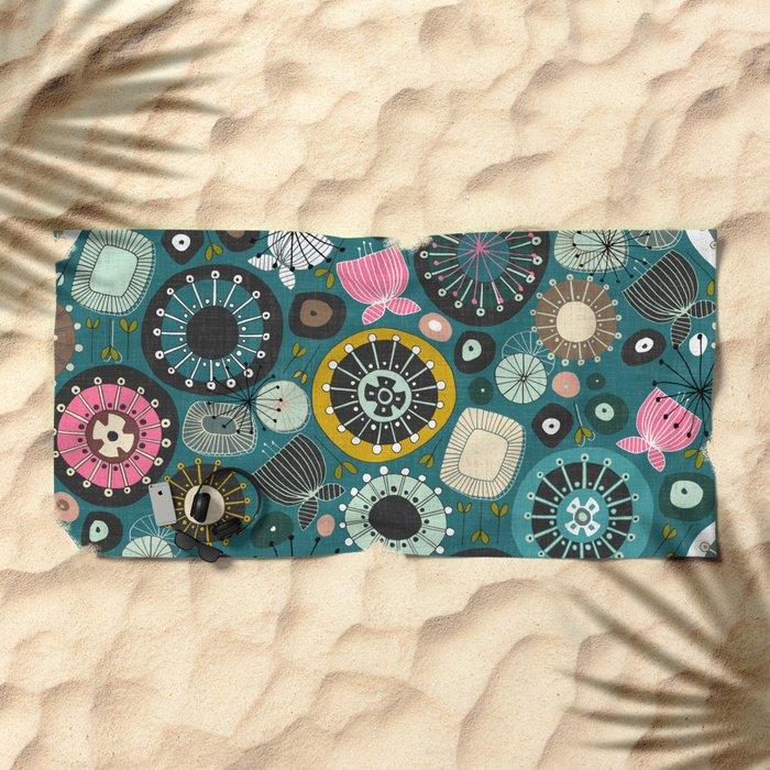 blooms teal Beach Towel