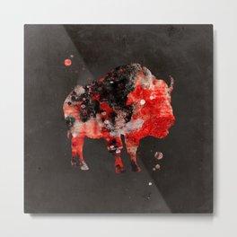 Watercolor Buffalo Bison Painting Black Red Grunge Metal Print