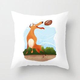 Footballer dog Throw Pillow
