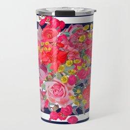 Vintage Floral Burst Print with Navy Stripes Travel Mug