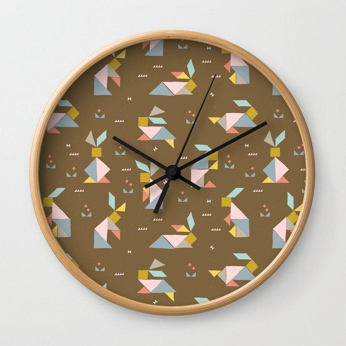 Tangram Bunnies M+M Nutmeg by Friztin Wall Clock