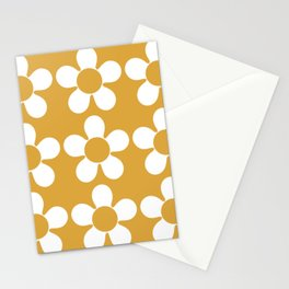 Geometric Golden Yellow & White Summer Daisies Stationery Cards