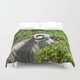 Side View of A Billy Goat Grazing Duvet Cover