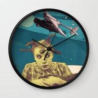 chicken Wall Clocks featuring Chicken by Julia Lillard Art