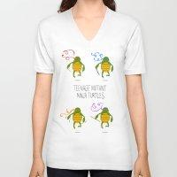 teenage mutant ninja turtles V-neck T-shirts featuring teenage mutant ninja turtles by Lionel Hotz