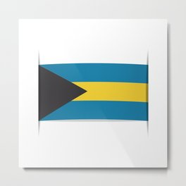 Flag of Bahamas. The slit in the paper with shadows. Metal Print