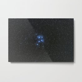 Peiades star cluster and a Orionid Meteor Metal Print
