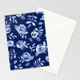 Hand painted navy blue white watercolor floral roses pattern Stationery Cards