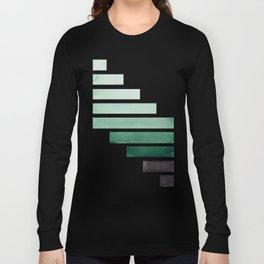 Deep Aqua Green Midcentury Modern Minimalist Staggered Stripes Rectangle Geometric Aztec Pattern Wat Long Sleeve T-shirt