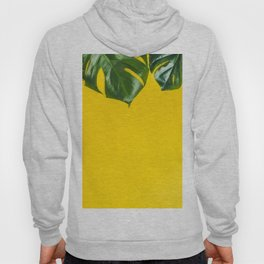 Tropical leaves on yellow background, space for text Hoody