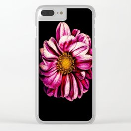 Simple Pink Dahlia On Black Clear iPhone Case