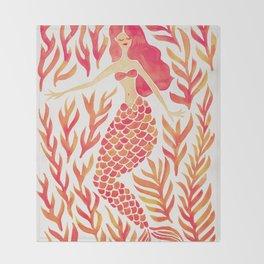 Kelp Forest Mermaid – Peach Palette Throw Blanket
