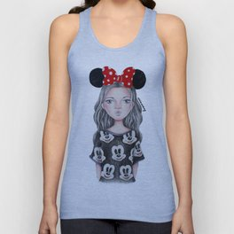 Minnie Mouse Inspired Style Girl Drawing Unisex Tank Top