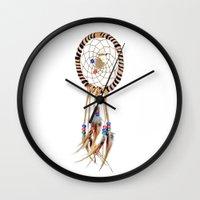 spiritual Wall Clocks featuring Spiritual Dreamcatcher by Bruce Stanfield Photographer
