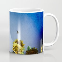 Red Robot visits the Sunflower Garden Coffee Mug