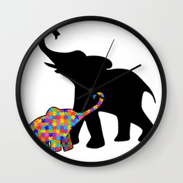 Elephant Autism Awareness Support Wall Clock