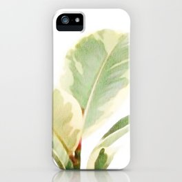 White Ficus elastica iPhone Case