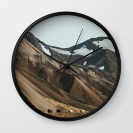 Sheep in Landmannalaugar, Iceland Wall Clock