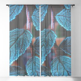 Peacock Blue Leaves Nature Background #decor #society6 #buyart Sheer Curtain