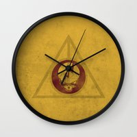 deathly hallows Wall Clocks featuring Grateful Deathly Hallows by jerbing
