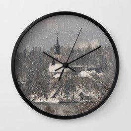 Snowy Bled Island Wall Clock